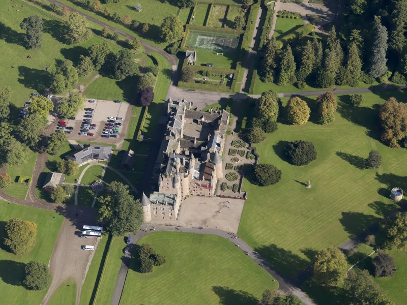 Oblique aerial view of Glamis Castle, taken from the SW.