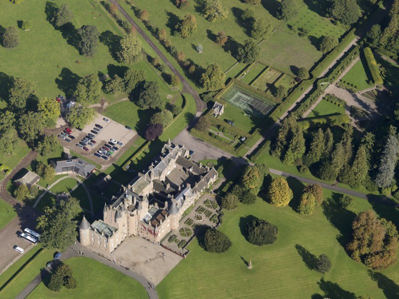 Oblique aerial view of Glamis Castle, taken from the SSW.