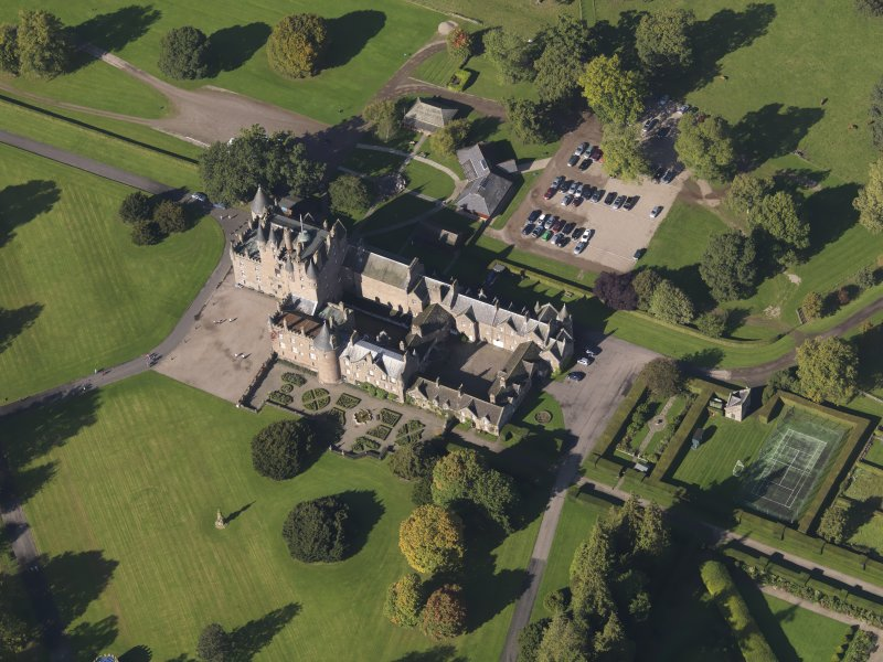 Oblique aerial view of Glamis Castle, taken from the SSE.