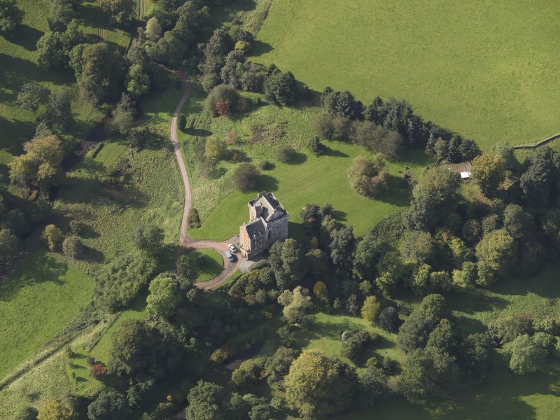 Oblique aerial view of Inverqharity Castle taken from the ENE.