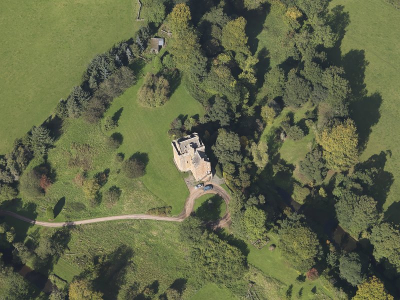 Oblique aerial view of Inverqharity Castle taken from the SSE.