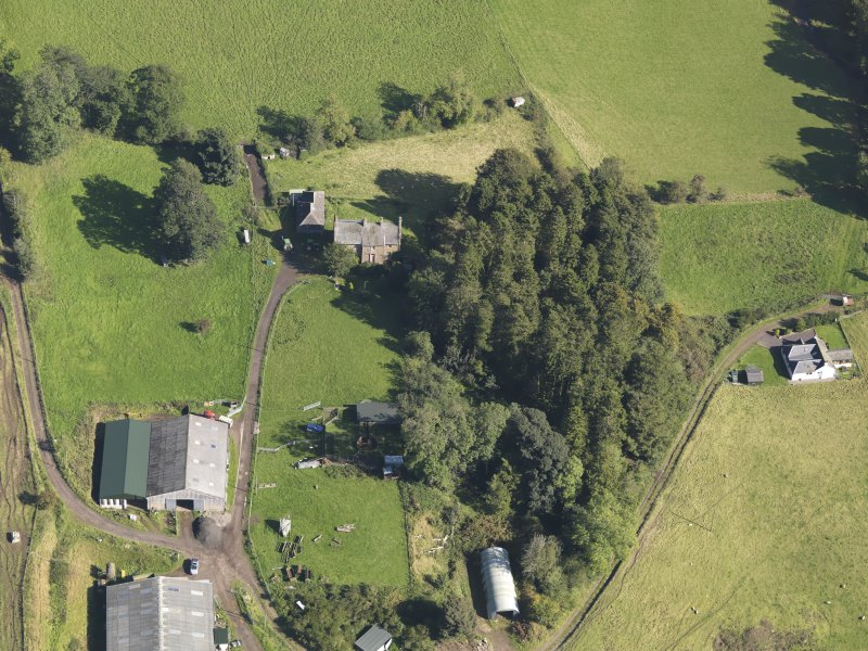 General oblique aerial view of Baldovie Farm, centred on Baldovie farmhouse taken from the WSW.