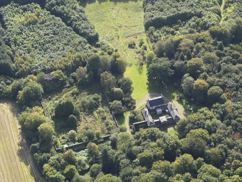 General oblique aerial view of Kintrockat House estate, centred on Kintrockat House, taken from the N.