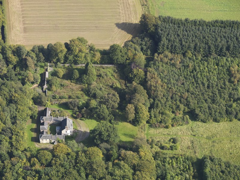 General oblique aerial view of Kintrockat House estate, centred on Kintrockat House, taken from the W.