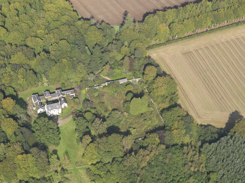 General oblique aerial view of Kintrockat House estate, centred on Kintrockat House, taken from the S.