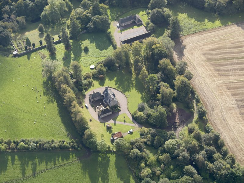 General oblique aerial view of Ardovie House estate, centred on  Ardovie House, taken from the N.