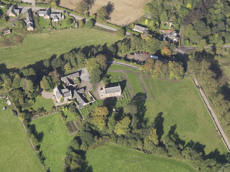 General oblique aerial view of Farnell Village, centred on Farnell Parish Church, taken from the S.