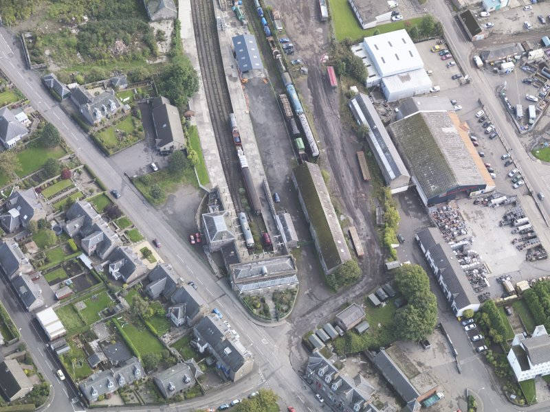 General oblique aerial view of Brechin Railway Terminus, centred the ticket office, taken from the W.
