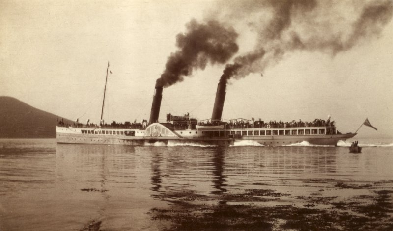 View of steamship Titled: 'Glen Sannox leaving Brodick'