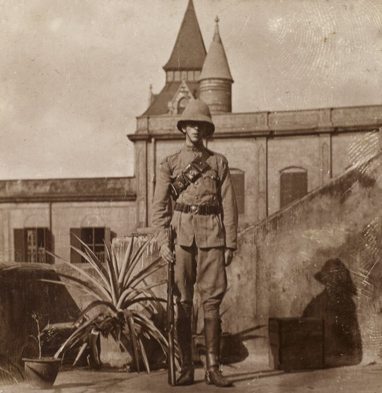 View of soldier in Madras, India. Titled: 'W.J.U. Turnbull Madras Mounted Infantry'