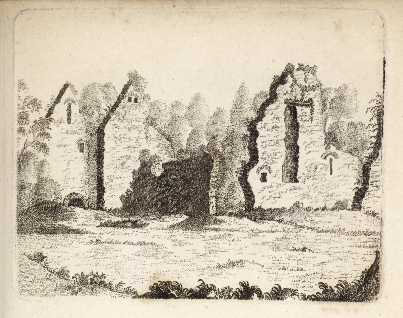 "Loch Tay. Engraving from southeast of Priory on Priory Island. Titled 'Loch Tay Priory. Upon an island situated in Loch Tay, in the shire of Perth, was a Cell or Priory belonging to Scone, founded by King Alexander I in the year 1122, for canons regular of St. Augustine. In this place died Sybilla, Queen of Alexander I and was here buried. She was natural daughter of Henry I, King of England. In the neighbouring village of Ceanmore, or Kenmore, is held an annual fair, called the Fair of the Holy Women; the tradition is that the nuns of Loch Tay had liberty to expose at this time the work which they had done in the intervals of their devotion during the preceding twelvemonth, and that the establishment was for twenty-five. This is contrary to what is asserted by Spotteswood, and very different from the most respectable authority; but I give it as the general belief of that part of the country, and submit whether the curcumstance of Queen Sybilla dying and being buried there does not confirm the idea of its being possessed by nuns. There is a kiind of causeway which reaches from the island to the nortyh shore, which probably led to the garden and orchard upon the side of the opposite hill, hanging over the water, with a fine exposure to the south. This beautiful spot, with a wide-extended country round, is the property of the Earl of Breadalbane. This view is from the S. E. 1788. [Adam de Cardonnell ""Picturesque Antiquities of Scotland."" 1788.]"