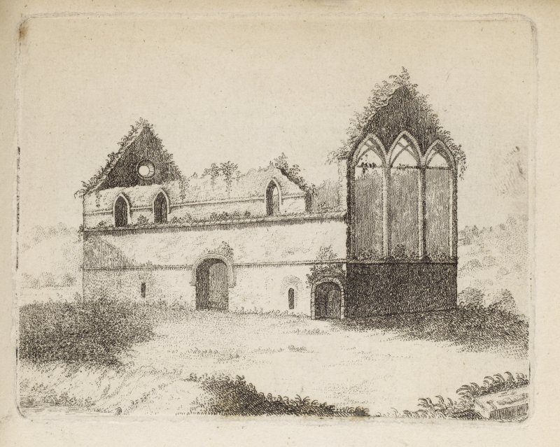 "Manuel Priory, engraving of a view  from the SE. Titled 'Manuel Priory, Plate II. This View, taken nearly fifty years ago, exhibits the state of the building as it stood at that time; at the east corner was a vault wherein was the tombstone of Alice, Prioress before mentioned, in which was her figure, with a distaff, and a dog at her feet. At the reformation this Priory was given to a predecessor of the Earls of Linlithgow, in which family it remained for a considerable time. In 1562, when the list of ecclesiastical revenues was made, those of Emanuel amounted to 52:14:8 scots, 3 chaldres bear, 7 chaldres meal, with a large quantity of salmon. The situation is beautifully romantic - a fine winding river, surrounded with hills covered with wood. On the opposite side of the river lies the field of battle fought betwixt the Earl of Lennox and the Earl of Angus, during the minority of James V. in which Earl Lennox was defeated and slain. This View is from the S. E.  Taken 1739.' [Adam de Cardonnell, ""Picturesque Antiquities of Scotland."" 1788.]"