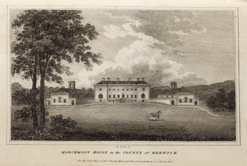 Engraving of Marchmont House & wings from the lawns. Titled 'Marchmont House in the County of Berwick, for the Scots. Mag. and Edinr. Literary Miscy. published by A. Constable & Co. 1 March 1808.. R. Scott Sc.'