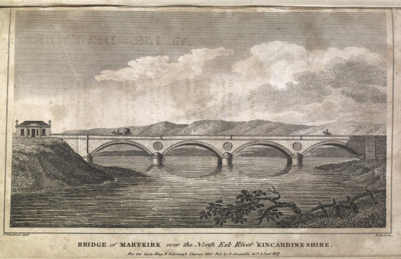 Marykirk Bridge, engraving showing general view. Titled 'Bridge of Marykirk over the North Esk River, Kincardineshire. for the Scots Mag. & Edinr. Literary. Misy. Pub. by A. Constable & Co. 1 June 1817. J. Steedman delt. R. Scott Sc.'
