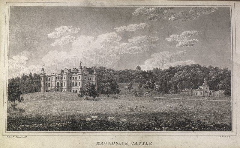 Mauldslie Castle, engraving showing grounds & stable block from the lawns. Titled 'Mudslie Castle, Colonel Gibson delt. R. Scott sculpt.'