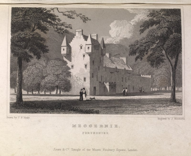 Meggernie Castle, engraving showing general view. Titled 'Meggernie, Perthshire. Jones & Co., Temple of the Muses, Finsbury Square, London. Drawn by J.P.Neale, Engraved by J. Hinchcliffe.'