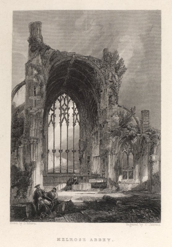Melrose Abbey engraving of interior view of west window with figures. Titled ' Melrose Abbey. Drawn by D. Roberts, engraved by T. Jeavons.'