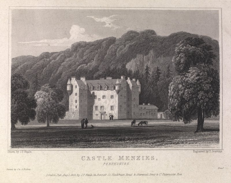 Castle Menzies engraving showing general view with woods behind. Titled 'Castle Menzies, Perthshire, London, pub. August 1, 1825 by J.P. Neale, 16 Bennett Street, Blackfriars Road & Sherwood & Jones & Co., Paternoster Row. Printed by J &G Bishop. Drawn by J.P.Neale, Engraved by T. Jeavons.'