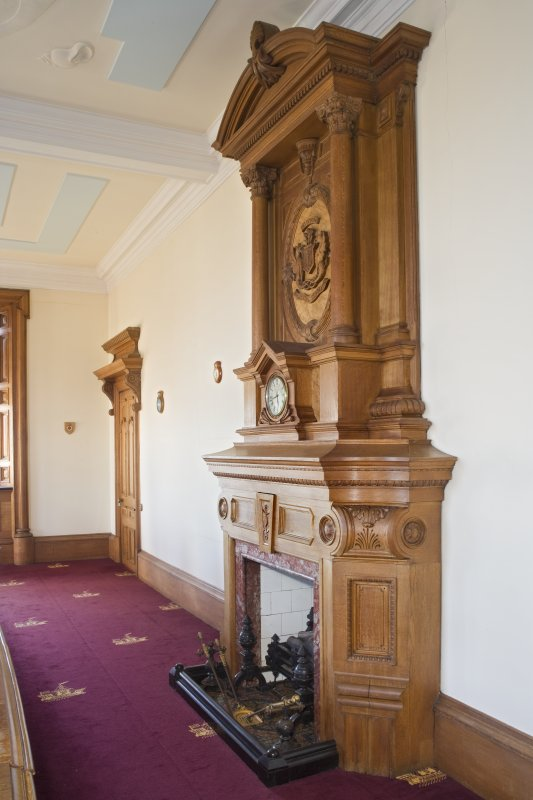 Harbour Chambers. Interior. 1st floor. Boardroom. Fireplace and overmantle. Detail