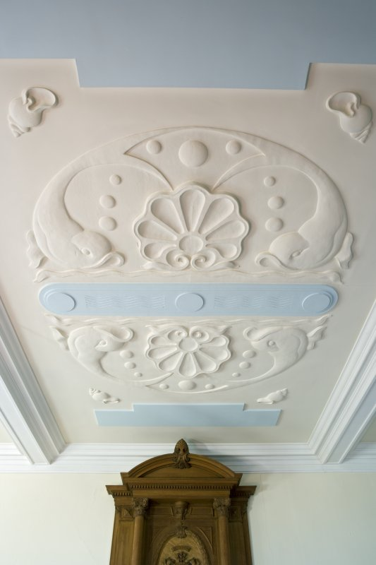 Harbour Chambers, 1st floor. Boardroom. Plaster ceiling. Custom House, Dundee.