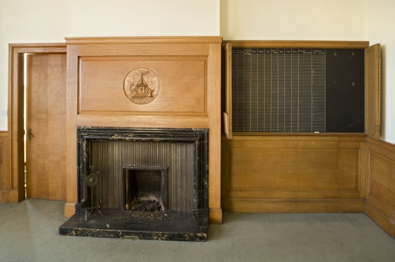 Harbour Chambers. Interior. Ground floor.  Directors office. Fireplace wall. Detail
