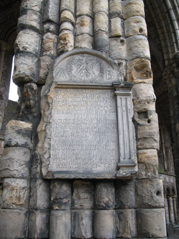 View of monument to Adam Bothwell, on second pier from E end of S aisle in Holyrood Abbey.