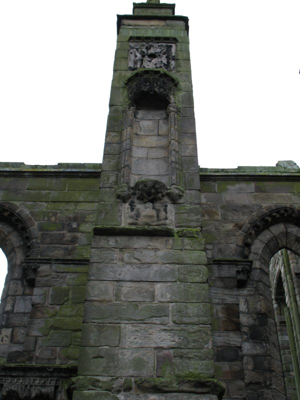 View of architectural details on exterior of Holyrood Abbey.
