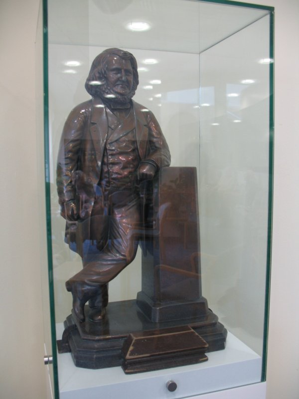 View of statuette of James Young Simpson, in corner of waiting area of gynaecology out-patients in the Simpson Centre for Reproductive Health.