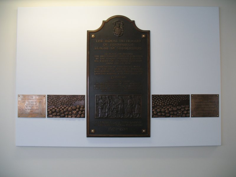 View of 'Subscribers' (The Bed Plaque Project'), along wall of N corridor on first floor.
