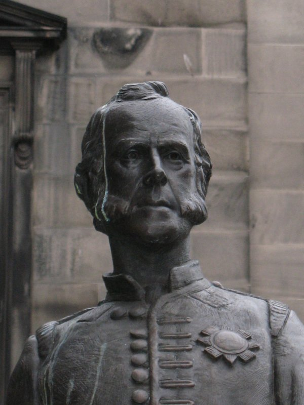 Detailed view of James Braidwood statue.