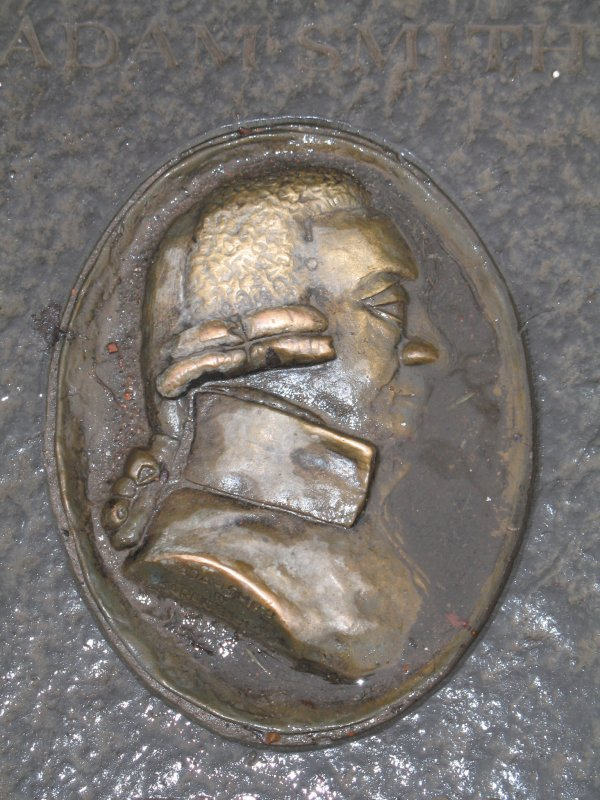 Detailed view of Adam Smith medallion.