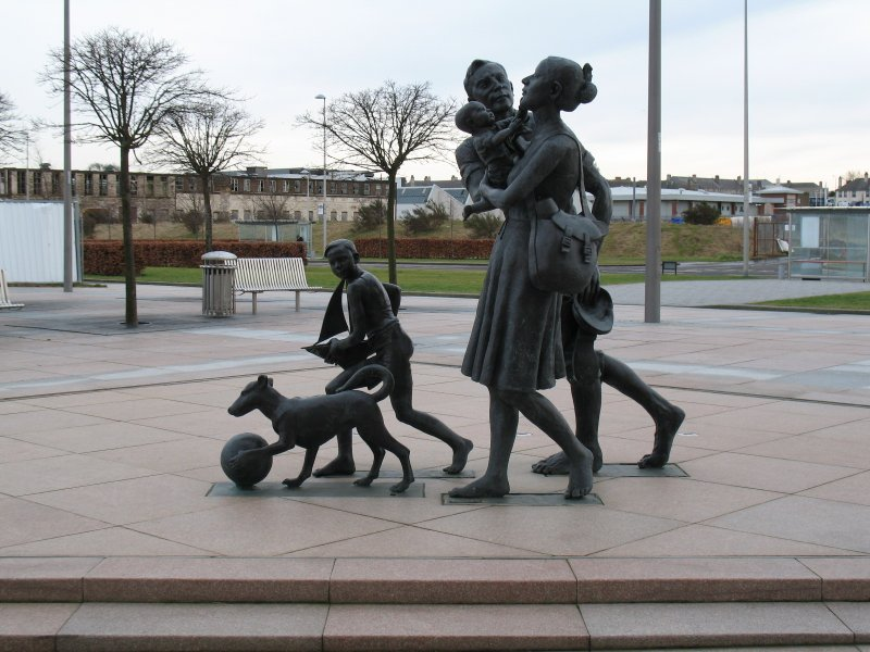View of sculpture 'Going to the Beach', on Waterfront Avenue, Edinburgh.