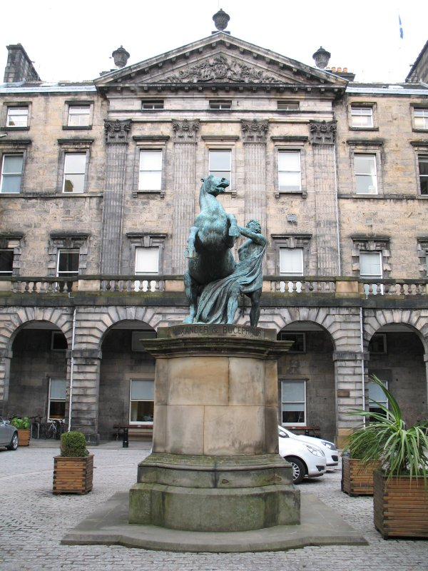 View from S of statue of 'Alexander and Bucephalus', in courtyard of Edinburgh City Chambers.