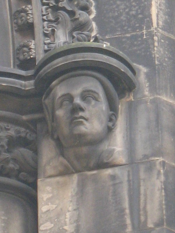 View of head of Allan Ramsay, at top of pilaster on W side (facing N).
