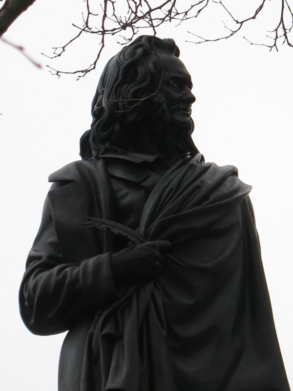 Detailed view of statue of John Wilson, East Princes Street Gardens, Edinburgh.