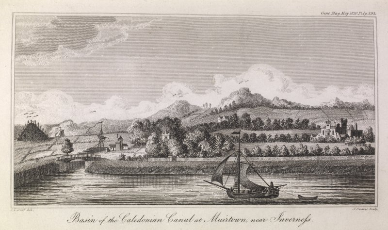 Engraving of Muirtown Basin with canal bridge, chapel & other buildings beyond. S.L.Duff del. J. Swaine Sculp. Gent. Mag. May 1820 Pl.1 p.393.