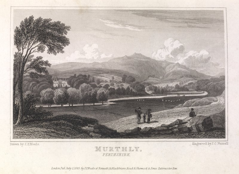 Engraving of distant view of Murthly Castle. Titled 'Murthly, Perthshire. London Pub. July 1 1823 by J.P.Neale, 16 Bennett St. Blackfriars Road, & Sherwood &Jones, Paternoster Row. Drawn by J.P.Neale. Engraved by J.C.Varrall.'