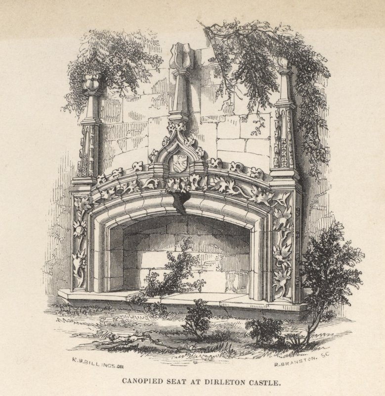 Engraving of elaborate fireplace at Dirleton Castle. Titled 'Canopied seat at Dirleton Castle.' [Billings 1845-52.]