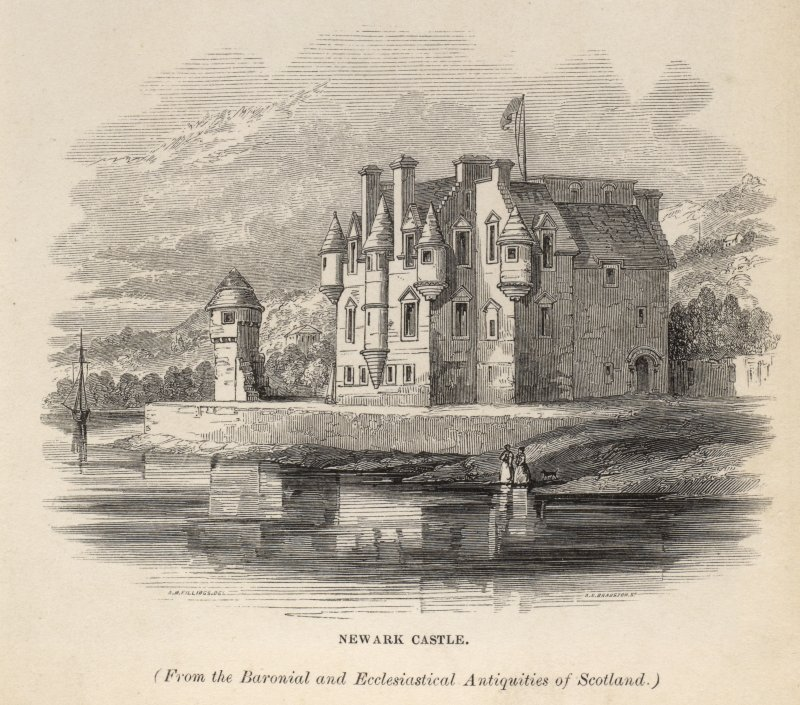 Engraving of Newark Castle from the Clyde. Titled 'Newark Castle, (From the Baronial and Ecclesiastical Antiquities of Scotland.) J.B.Nichols & Son, Printers, 25 Parliament Street. [Billings, 1845-52.]