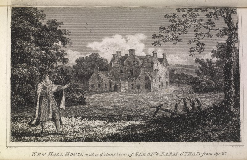 Engraving of Newhall House from the west. Titled 'New Hall House with a distant view of Simon's Farm Stead, from the west.""