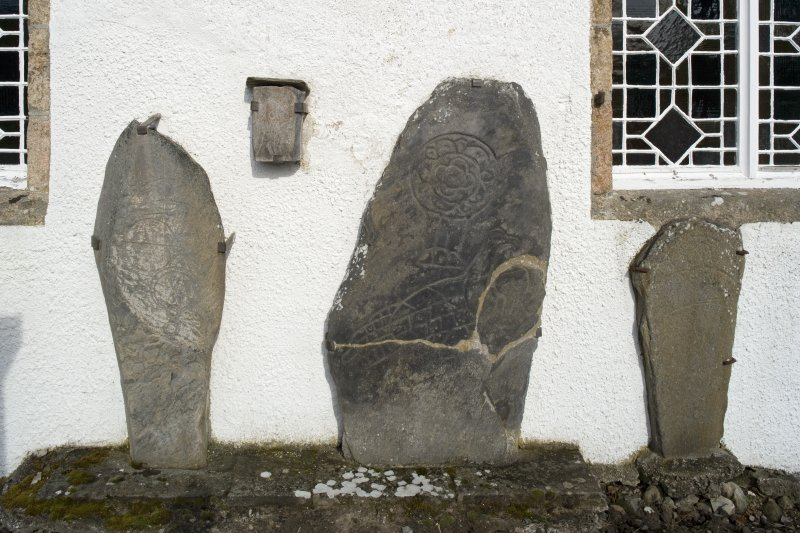 General view of Inveravon Pictish symbol stones, nos 1, 2, 3 and 4 from S