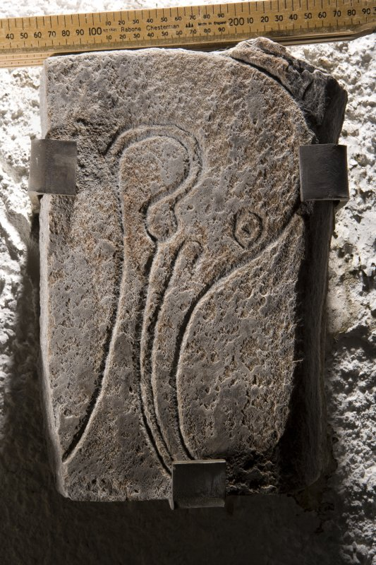 View of fragment of Inveravon symbol stone no 3, (with scale)