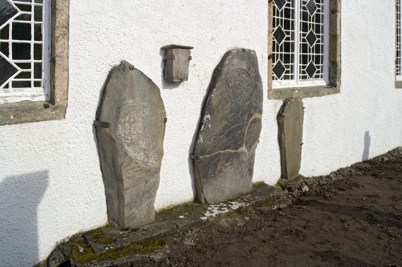View of Inveravon Pictish symbol stones, nos 1, 2, 3 and 4 from SW