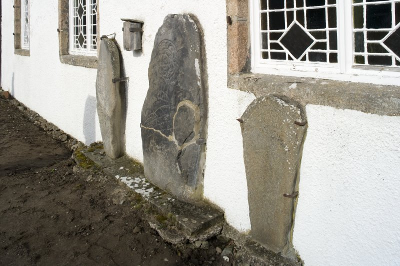 View of Inveravon Pictish symbol stones,  nos 1, 2, 3 and 4 from SE