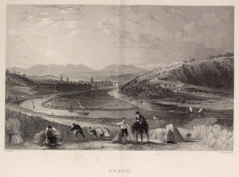 Engraving of distant view of Perth & Bridge and river approach to Perth. Titled 'Perth. T. Allom. E. Benjamin. London, Published for the Proprietors by Geo. Virtue, 26 Ivy Lane, 1837.'