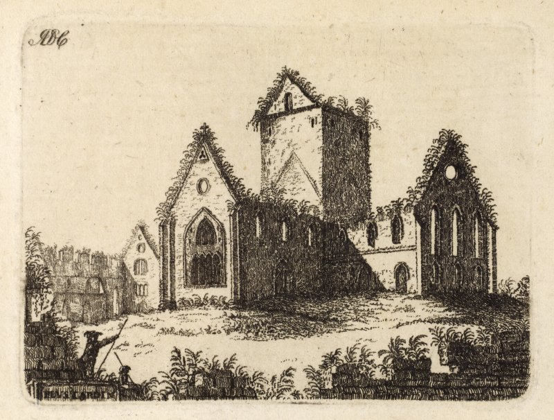 "Engraving of Pluscarden Abbey. Titled 'ADC. Pluscardine. In the county of Moray, about six miles from Elgin, was a Priory, founded in the year 1230, for Monks of the order of Vallis-Caullium, by King Alexander II in honour of St. Andrew. The walls which inclosed this house are still remaining, and are nearly quadrangular. The Church is almost in the centre, built in form of a cross, having a square tower in the middle. The oratory and refectory join the south end of the church, under which was the dormitory. The Chapter-house has been of fine workmanship, of an octagonal form. The remains of the Prior's house, and of the cells, are contiguous to the Church; and the whole together merit the attention of the curious traveller. This Priory is the property of the Earl of Fife.' [Adam de Cardonnel, ""Picturesque Antiquities of Scotland,"" 1788.]"