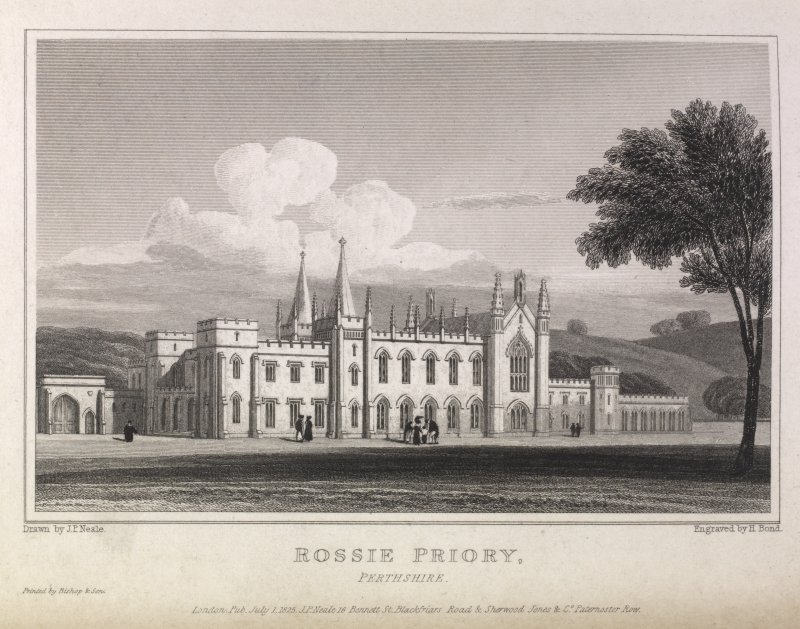 Engraving of front view of Rossie Priory. Titled 'Rossie Priory, Perthshire. Drawn by J. P. Neale. Engraved by H. Bond. London. Pub. July 1 1825 J.P.Neale, 16 Bennet St. Blackfriars Road, Sherwood Jones & Co., Paternoster Row. Printed by Bishop & Son.'