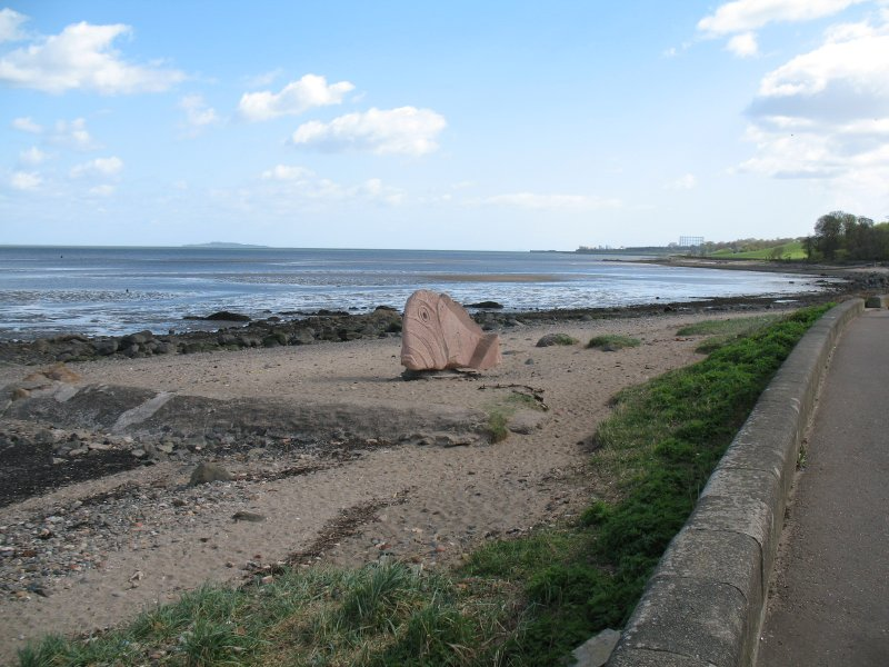 View of sculpture 'Fish', on Cramond foreshore.