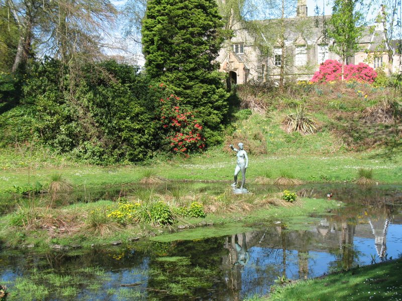 View of statue of Diane, in centre of pond.