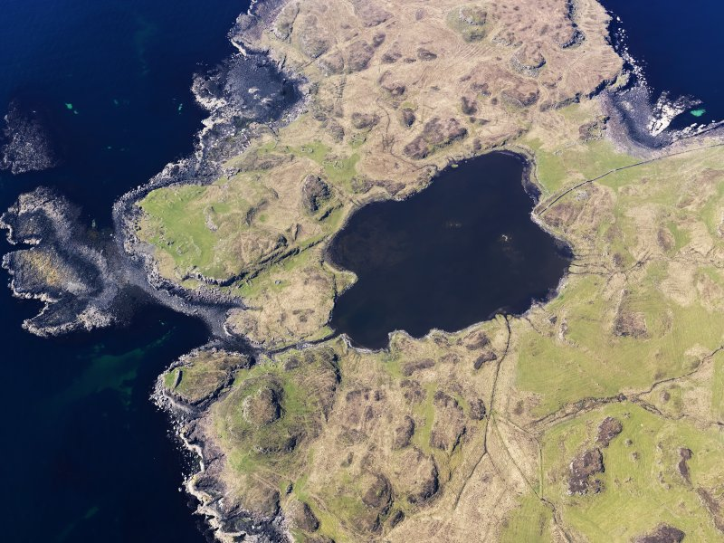 Oblique aerial view centred on Loch na h-Airde, the 'Viking Canal' and Rubh' an Dunain, taken from the E.